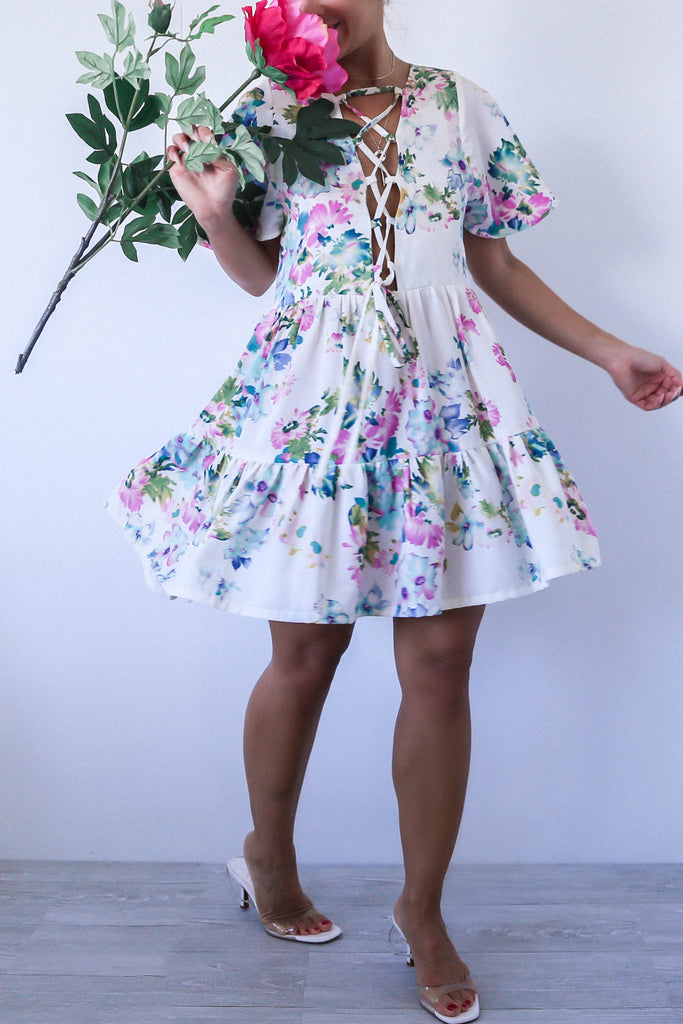 KTR Front Lace Up Floral Flowy Skater Dress