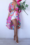 Pink and Blue Floral Sheer Duster with Lace Trim
