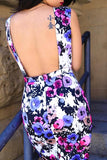 KTR Flower Power Pencil Open Back Dress