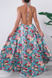 KTR Open Back Floral Maxi Dress