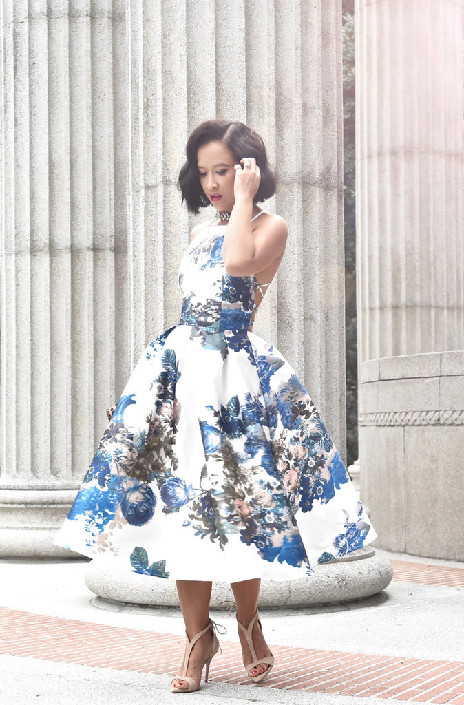 Lace Me Up Full Dress in Floral