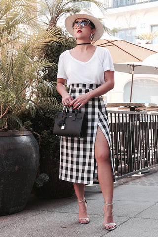 * MADE TO ORDER: The Gingham Midi High Slit Skirt (optional slit)