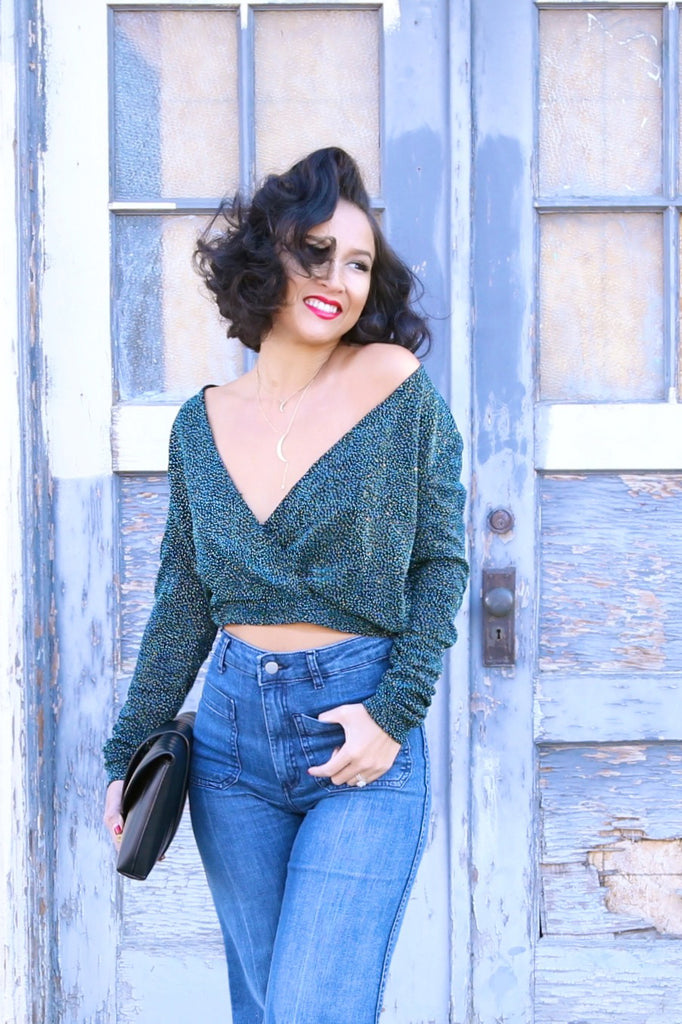 H&M Deep Green Glitter Blouse