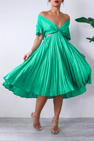 Green Cut Out Midi Dress