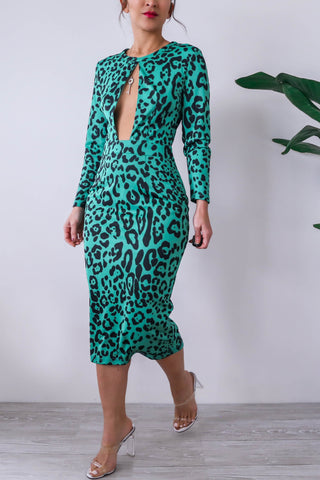 KTR Green Leopard Keyhole Bodycon Midi Dress