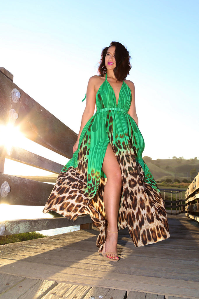 Open Back Maxi Dress in Green Leopard
