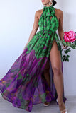 KTR Open Back Green and Purple Floral Halter Maxi Dress