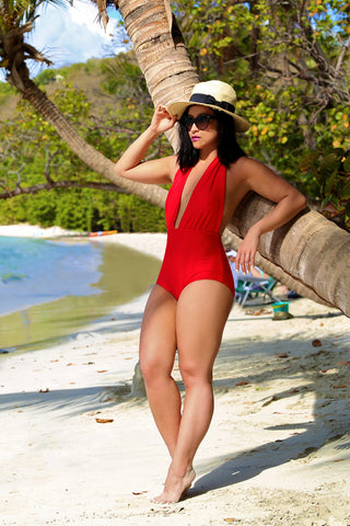 Plunge Neck Halter One Piece Swimsuit