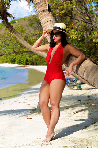 * MADE TO ORDER: Halter One Piece Retro Swimsuit