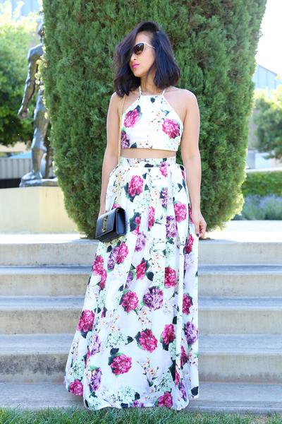 KTR Hydrangeas Floral Crop Top and Maxi Skirt Set