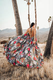 Jungle Fever Floral Leopard Backless Halter Maxi Dress (Only 1)