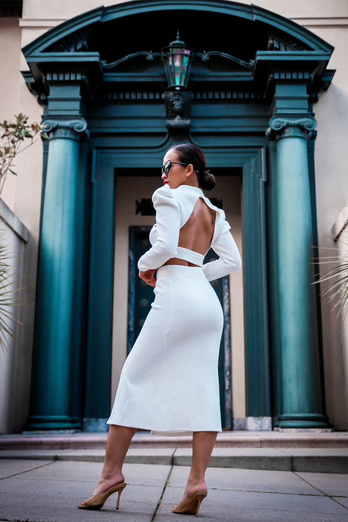 Back At It Open Back Knit Top and Skirt Set in White