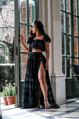 * MADE TO ORDER: The Endless Lace Maxi Set (in Black)