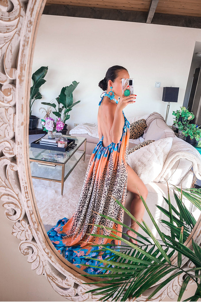 Tropical Leopard Backless Halter Maxi Dress (Only 1)