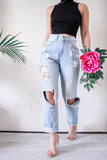 Glamorous Distressed High Waisted Mom Jeans