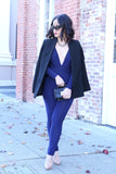 KTR Navy Blue Catsuit / Jumpsuit with Deep V Neck