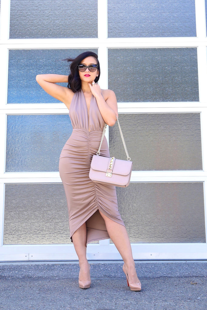 Halter Midi Dress in Nude