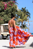 KTR Halter Orange Floral Maxi Dress