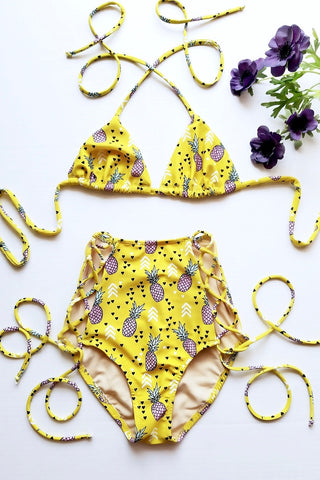 * MADE TO ORDER: Lace Me Up Two Piece Retro Swimsuit (w/ Triangle Top)