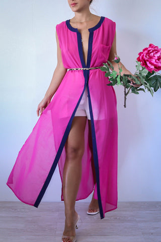 Pink and Navy Sheer Duster Cover Up Maxi Dress