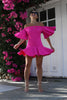 ASOS Flutter Sleeves Drop Waist Pink Mini Dress