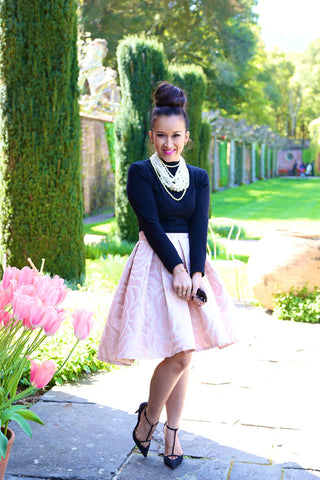 * MADE TO ORDER: High Low Rosette Skirt in Pink