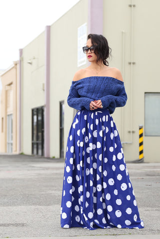 KTR Maxi Moment Skirt in Polka Dots