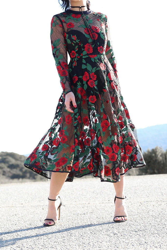 a6949ae3f05 Carmen Floral Embroidery Mesh Midi Dress - KTRcollection