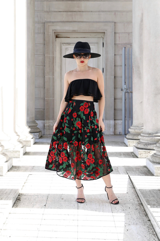 Carmen Floral Embroidery Mesh Midi Skirt (Limited QTY)