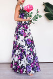 KTR Purple Floral Ruffles Hem and Bow Ties Maxi Dress