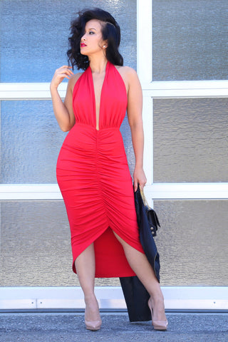 Halter Midi Dress in Red