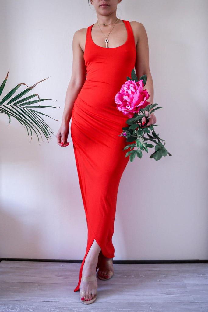 Orange Red Bebe Knit Bodycon Wrapped Maxi Dress