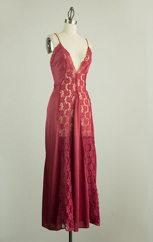 Vintage Cranberry Lace Maxi Slip Dress