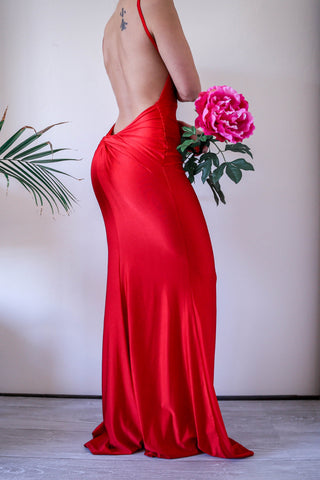 Open Low Knot Back Red Maxi Gown