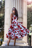 * MADE TO ORDER: The Valerie Midi Red Rose Dress