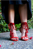 Red Sandals with Strappy Tassle Ankle Straps