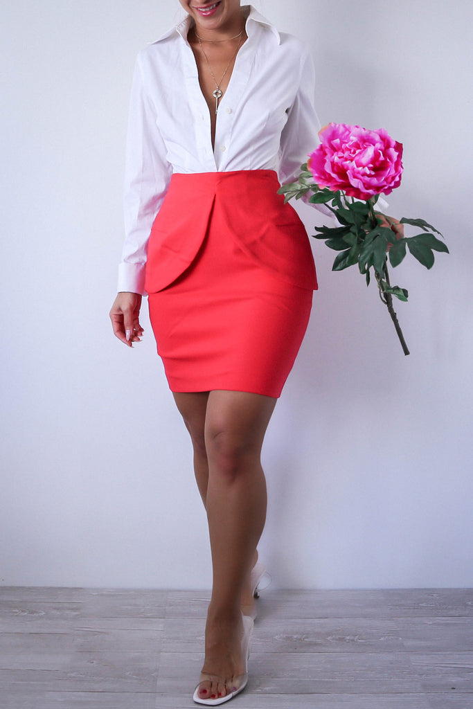 Vintage Red Orange Peplum Pencil Skirt