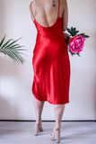 Red Slip Dress with Low Back