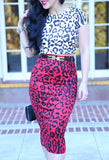 KTR Leopard x Leopard Top & Skirt (Red/White)