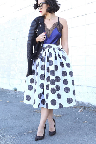 * MADE TO ORDER: Retro Mod Polka Dots Skirt
