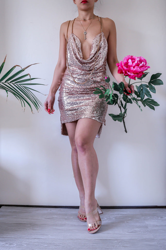 Backless Sequin Chain Choker Slip Rose Gold New Years Party Dress