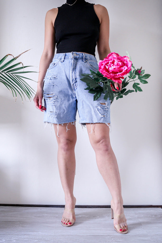 Vintaged Distressed High Waisted Mom Shorts