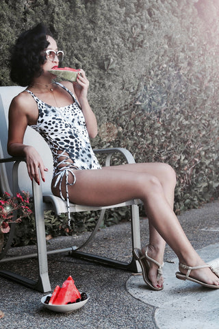 * MADE TO ORDER: Side Lace Up One Piece Swimsuit (round neckline)