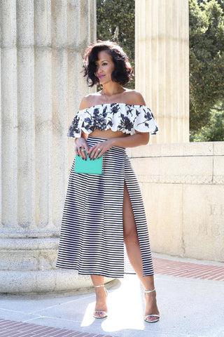 * MADE TO ORDER: The Stripes Midi High Slit Skirt (optional slit & button closures)
