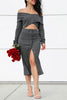Kyra Crop Top and Midi Skirt Knit Set in Gray