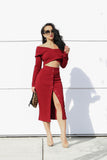 Kyra Crop Top and Midi Skirt Knit Set in Burgundy