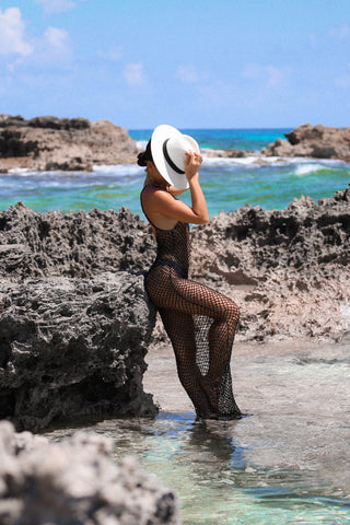 KTR Black Crochet Swim Suit Cover Up
