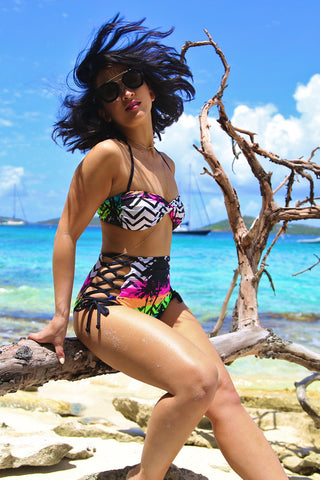 Tropical Paradise Two Piece Retro Swimsuit (One Left - Size S)