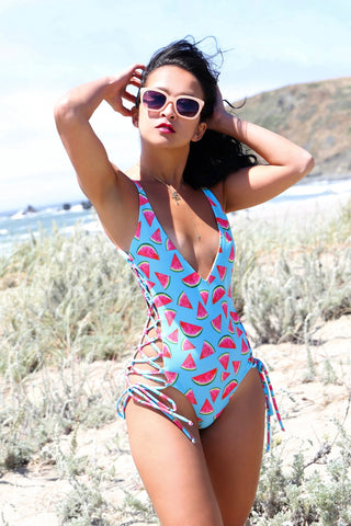 * MADE TO ORDER: Side Lace Up One Piece Swimsuit (deep V neckline)