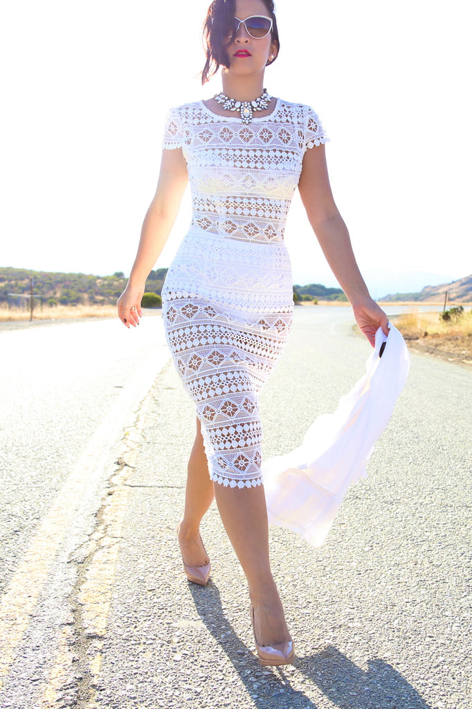 KTR White Lace Bodycon Midi Dress